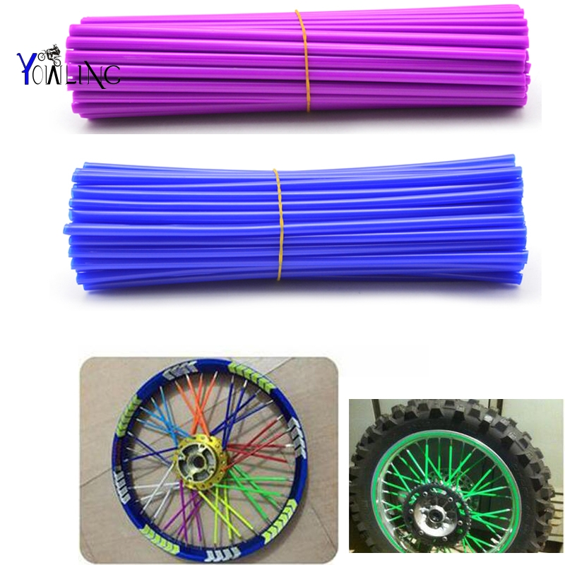 36Pcs Universal Motocross Dirt Bike Enduro Wheel RIM SPOKE Shrouds SKINS COVERS For Honda ktm Dirt bike in Decals Stickers from Automobiles Motorcycles