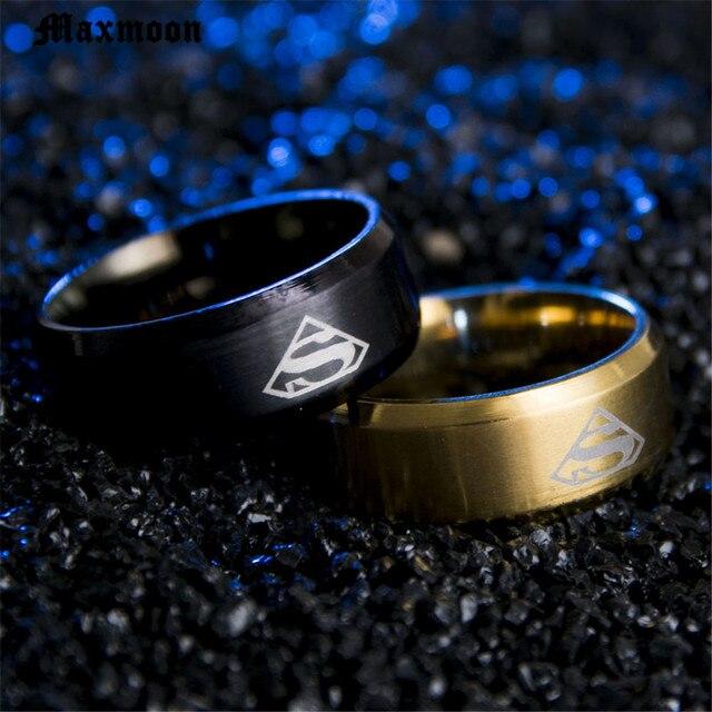 Maxmoon Superman Ring Men Stainless Steel Rings For women
