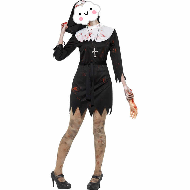 ffb51447d4 Horror Adult Zombie Nun Costume Living Dead Costume Ghost Costume Black Nun  Outfit Fantasy Sexy Black