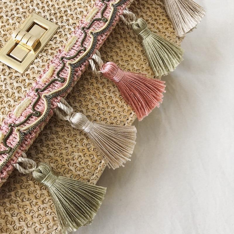 Sacos de Palha das Mulheres Artesanal Círculo Boemia Carneyroad Rodada