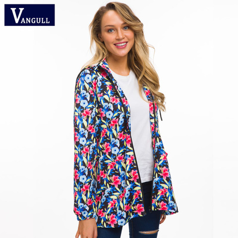 Vangull Women Hooded Jackets 2018 New Autumn Causal windbreaker Long Basic Jackets Coats Zipper Female Print Floral Jackets Islamabad