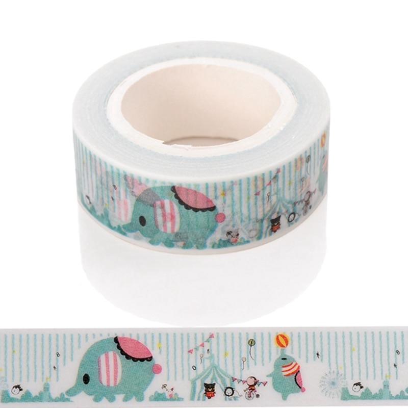10m*15mm Creative Kawai Elephant Circus Washi Tape DIY Decorative Tape Paper Office Adhesive Stationery Masking Sticker 1 PCS
