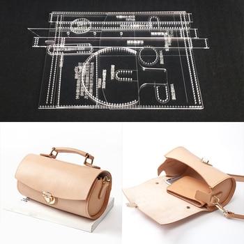 1Set Clear Acrylic Leather Craft Pattern Stencil Template DIY for Handbag Shoulder Bag Making Leathercraft Tool set 10x10x19.5cm