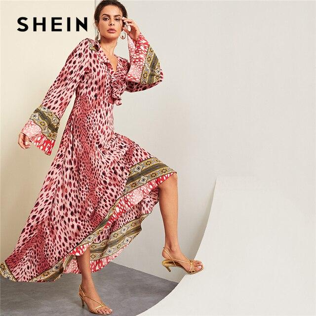 SHEIN Pink Party Elegant Ruffle Detail Wrap Leopard Print Flounce Sleeve  Highstreet Maxi Dress Autumn Women 0cab988ad