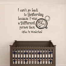 Alice In Wonderland Vinyl Wall Poster Cartoon Fashion Decal Removable Childrens Bedroom Sticker Pvc Art AY1840