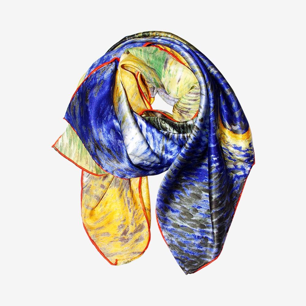 53812733b Women Silk Scarf Shawls & Wraps Van Gogh' Oil Painting Works