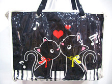 Princess sweet lolita bag Music piano and cat black and white HARAJUKU student bags music schoolbag shopping bags