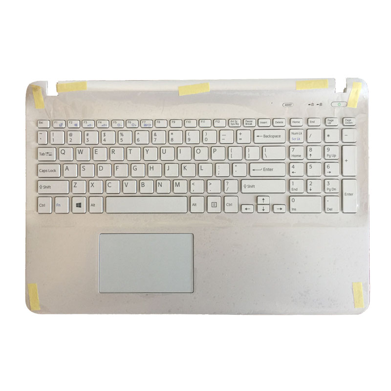 NEW English keyboard for sony SVF152A29W SVF1521GSAW SVF1532BCXW SVF1521GSAW SVF1532BCXW white with Palmrest Touchpad Cover
