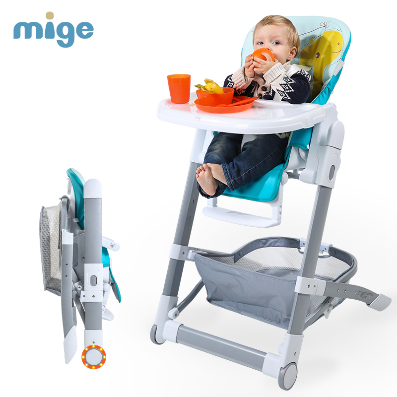 Mige Baby Dining Chair, 4 in 1 Fold Portable Baby High Chair, aluminum alloy frame baby feed chair, no need to install chair soft portable baby feed chair gift pillow and rope 4wheels baby booster seat light baby feed chair