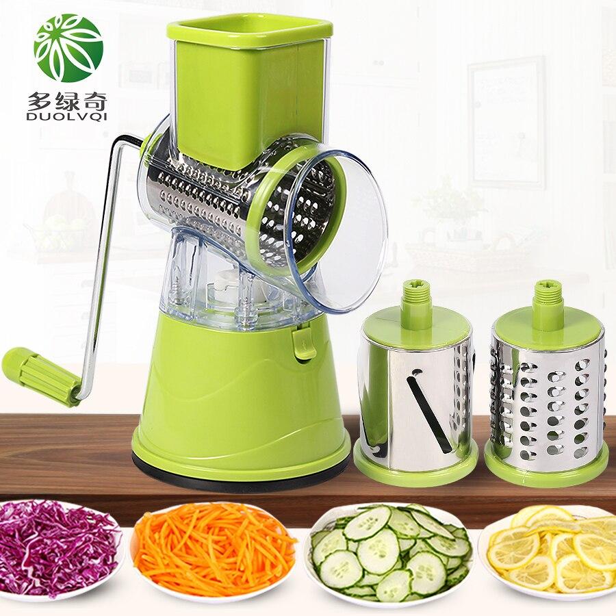 DUOLVQI vegetales Manual cortador accesorios de cocina multifuncional ronda Mandoline Slicer patata queso Gadgets de cocina