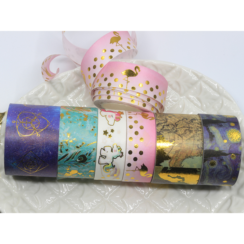 10 Pcs/lot DIY Cartoon Paper Washi Masking Tapes Gold Flamingos Starry Sky Decorative Adhesive Tape Stickers/School Supplies