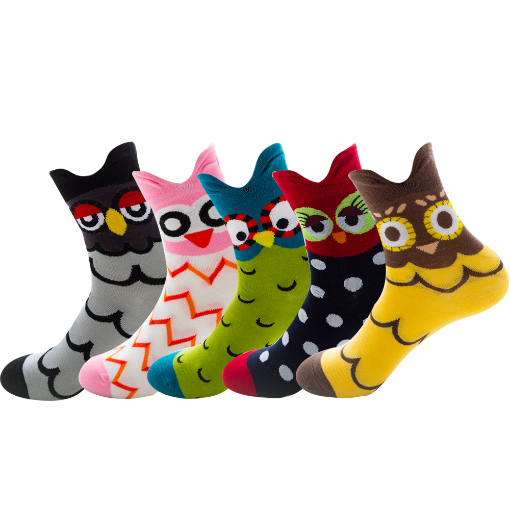 Spring Summer Womens Casual Stand Ear Owl Cotton Socks For Female 5paris