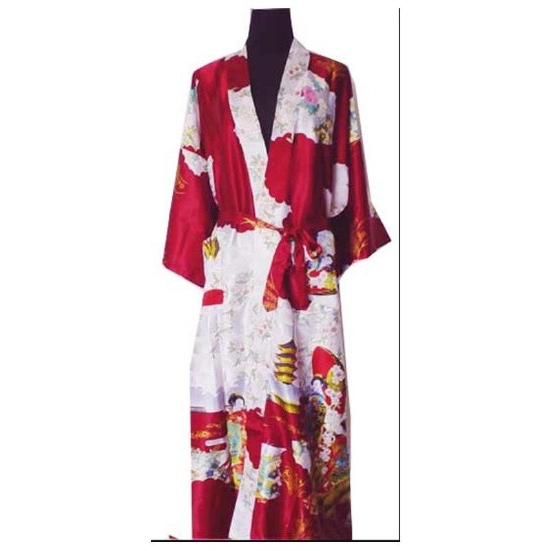 Burgundy Fashion Chinese Womens Polyester Satin Painted Kaftan Peri Kimono Bath Robe Gown Bathrobe With Belt Plus size M-XXXL