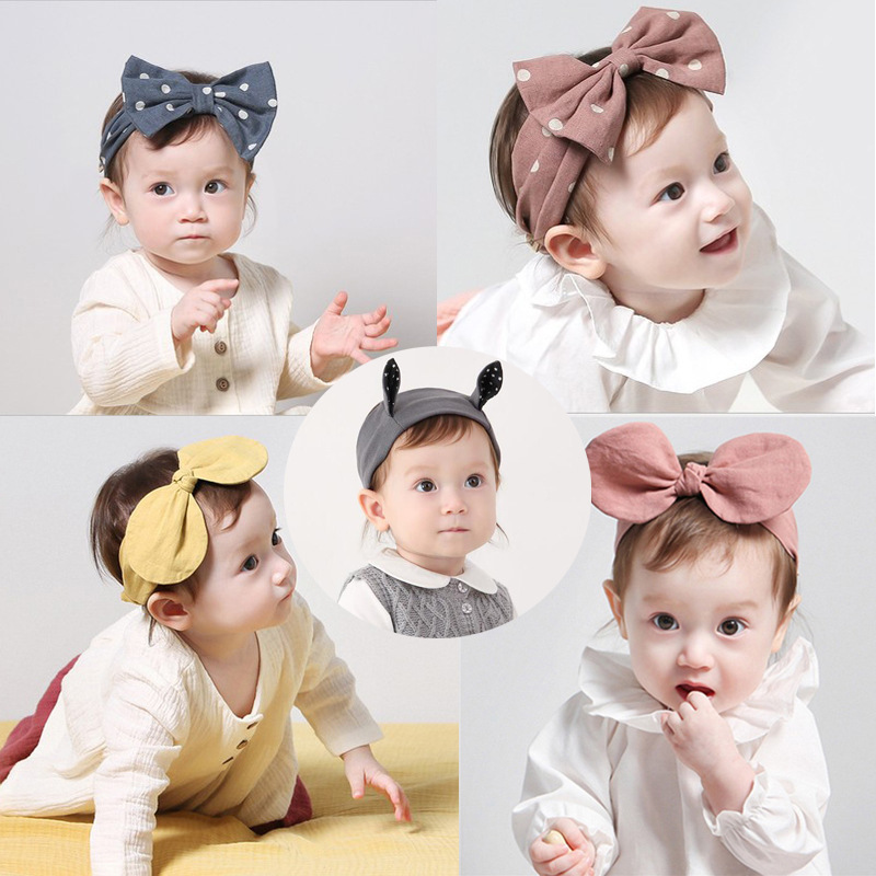 Baby Girl Headbands Cotton Lovely Dot Adjustable Baby Headwear Bow Rabbit Ears Baby Turban Hair Accessories Cute Baby Bows