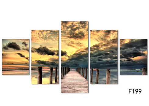 Free shipping 5 piece seascape wall art wooden bridge painting on ...
