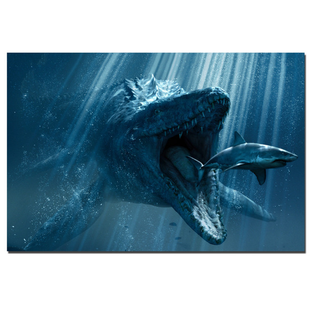 Jurassic World Underwater Dinosaur Poster Canvas Print For Home Decor Wall Art Cloth Fabric Poster