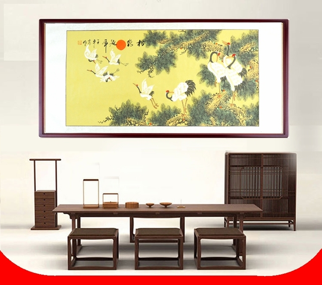 Scroll Painting by Numbers handpainted / Pinetree and Crane Japanese ...