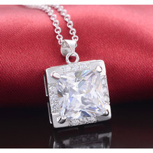 Moonso 2017 Two Gifts Real Sterling Silver Necklaces & Pendants Princess Cut Genuine 925 with Chain