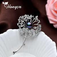 Hongye Süßwasser Perle Brosche Pin Löwenzahn Geformt Weiß Kupfer Schmuck Broschen für Frauen Elegante Schal Zubehör Pin Brosche