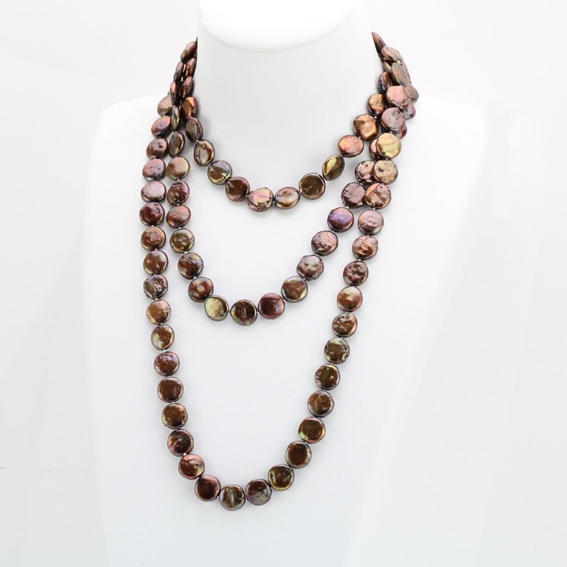 Unique Pearls jewellery Store,11-12mm Brown Coin Cultured Freshwater Pearl Knotted Endless Opera Knotted Necklace 50inchUnique Pearls jewellery Store,11-12mm Brown Coin Cultured Freshwater Pearl Knotted Endless Opera Knotted Necklace 50inch