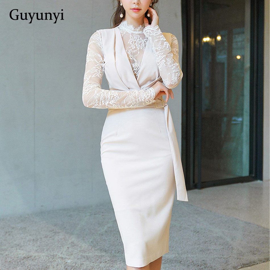 Lace Patchwork Long Sleeve Stand Neck Perspective Back Pencil Dress 2019 Spring Plain Color Athens Office Lady Dresses