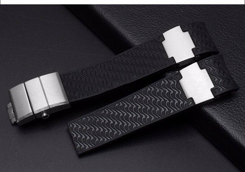 CARLYWET 22mm (boucle de 20mm) noir marron blanc imperméable à l'eau extrémité en caoutchouc bracelet de montre bracelet fermoir en argent pour Ulysse Nardin - 6