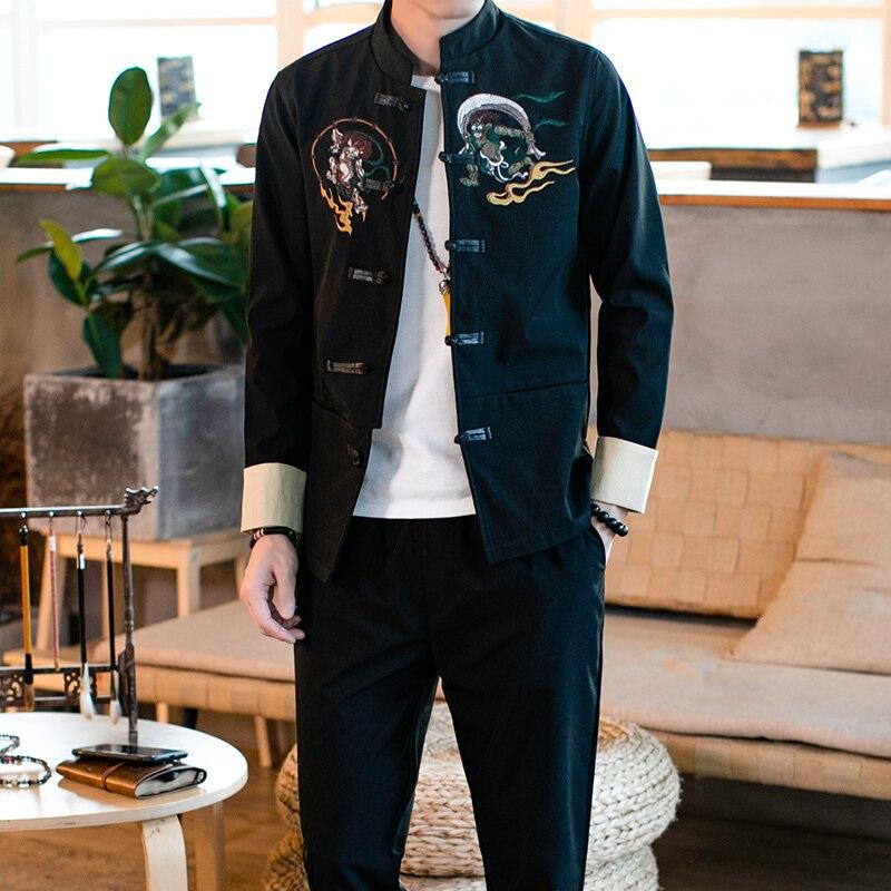 2019 été homme vêtements broderie dragon tang haut traditionnel chinois vêtements pour hommes petit haut cheongsam hanfu vintage