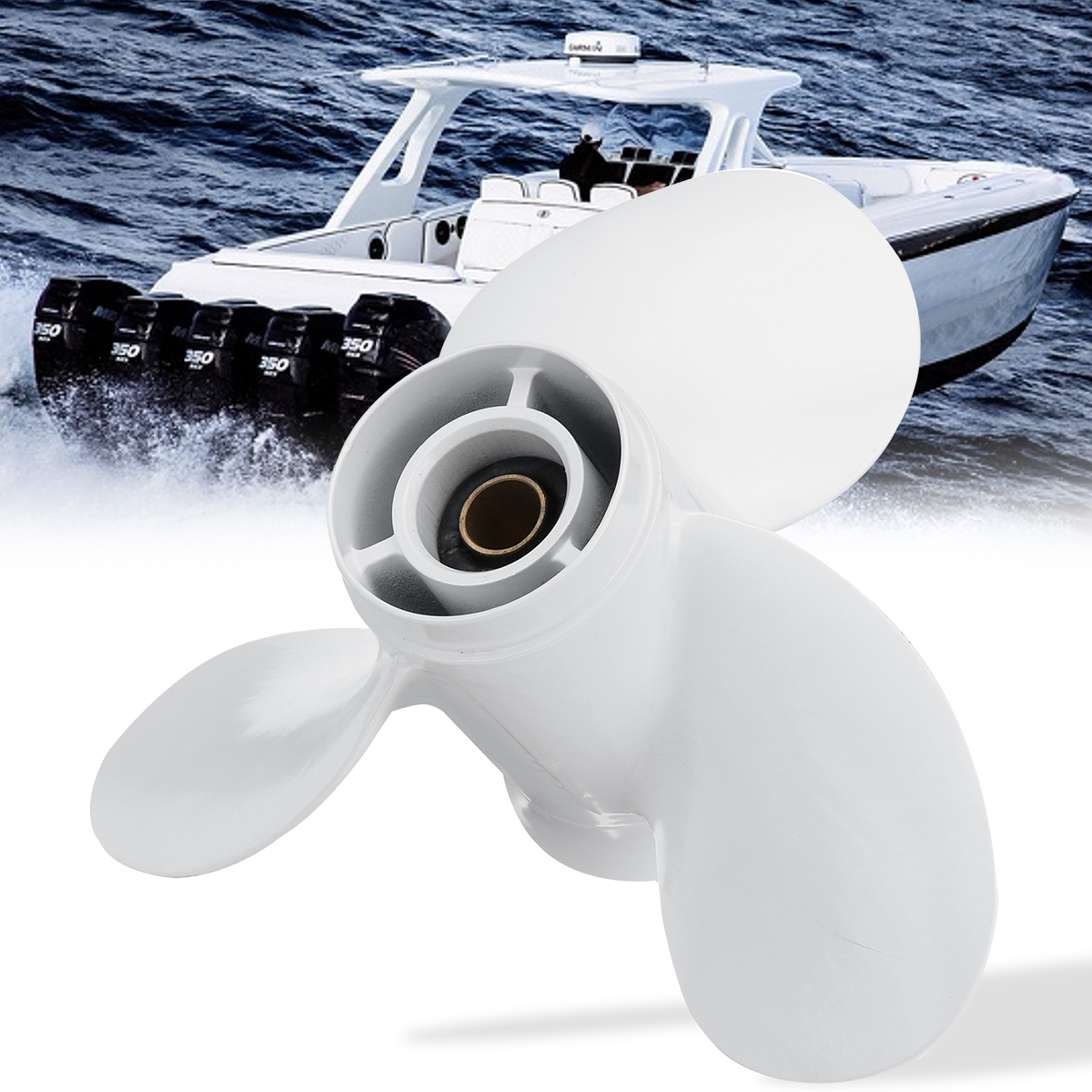 683-45941-00-EL 9 1/4x12 Barca Fuoribordo Elica Per Yamaha 9.9-15HP di Alluminio Bianco 3 Lame 8 Spline Tooths diametro di 235mm