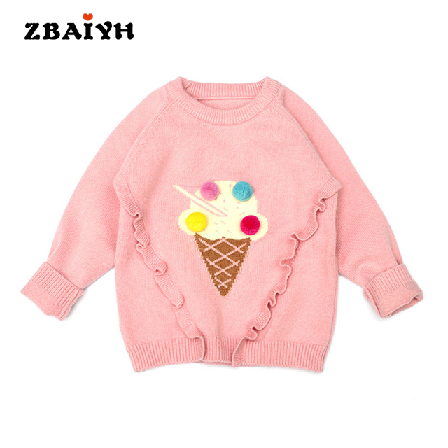 e986fbd93597 ZBAIYH Kids sweaters cute pink Ice cream baby girls clothes fashion ...