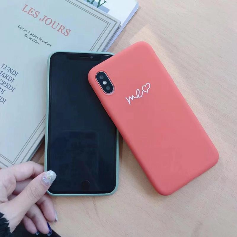 Cute Matcha green Couple Letter Me you Case For iPhone XS MAX XR X Case Soft Candy Phone Case For iPhone 7 8 6 S 6s plus cover (4)