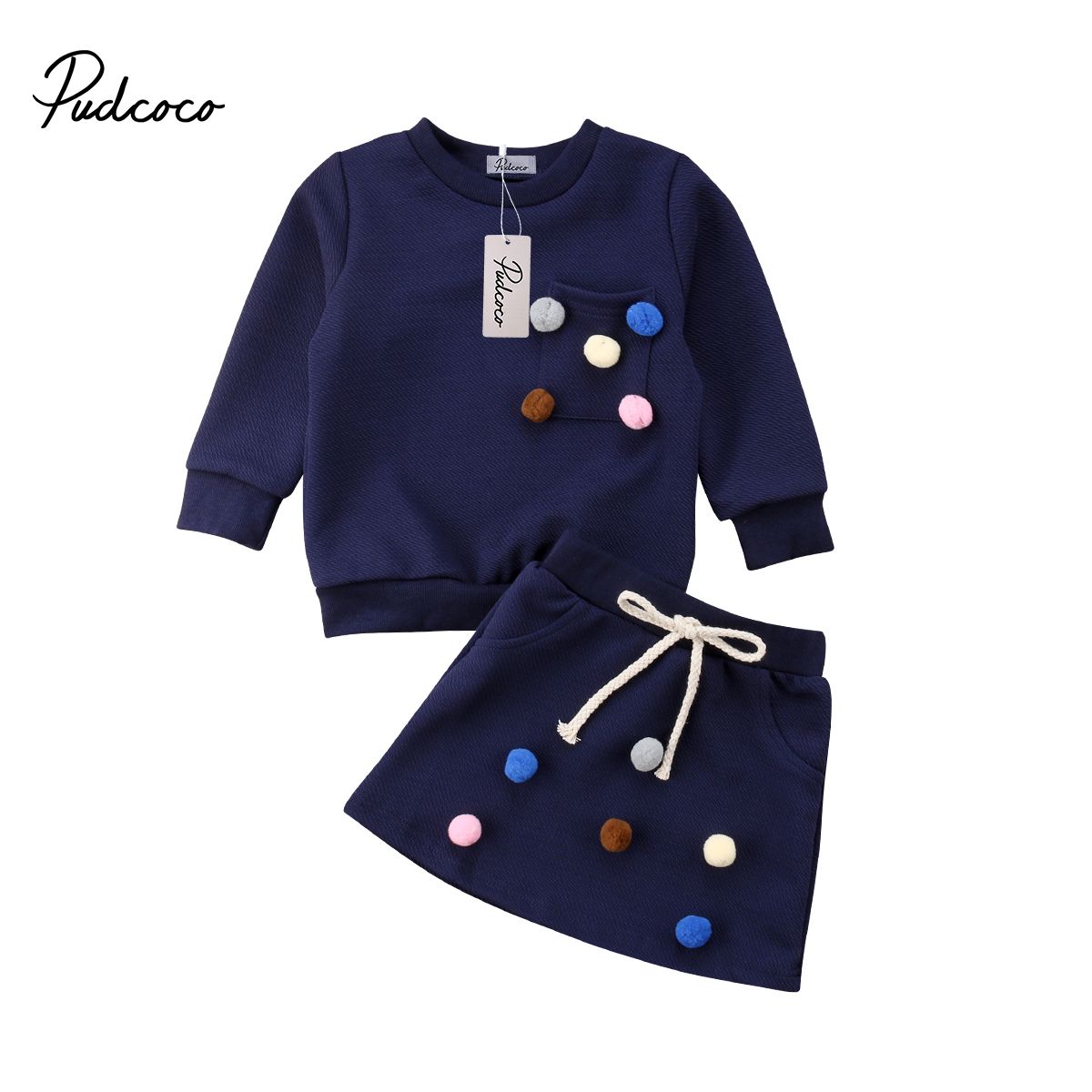 цена на 2pcs Newborn Baby Girls Clothes Set Outfits Long Sleeve shirt Hoodie Skirts Fuzzy Ball Winter 2018 Casual Cute Warm Fashion