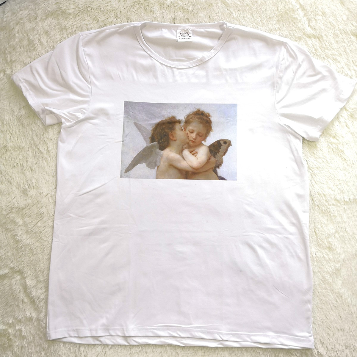 07d671cf9e US $9.6 40% OFF|Hillbilly Funny Baby Angels Printed Women Tshirt Off White  SummerTop Plus Size Design O neck Model Top Tee Casual T shirt Women-in ...