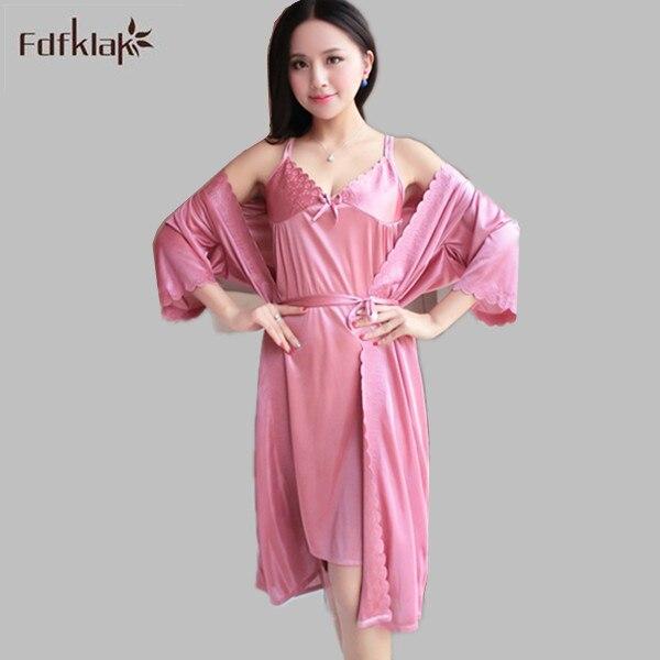 2f4978880d 2016 Summer Women Bathrobe Silk Satin Robes Dressing Gowns For Women Sexy  Bath Robe 2 Pieces Female Sleepwear Silk Robe Set E358