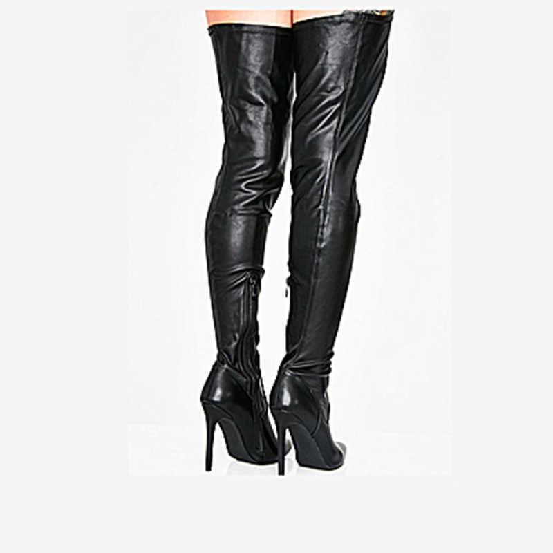 2019 модные пикантные Вечерние черные высокие сапоги выше колена с острым носком на высоком каблуке с поясом на талии женские ботинки