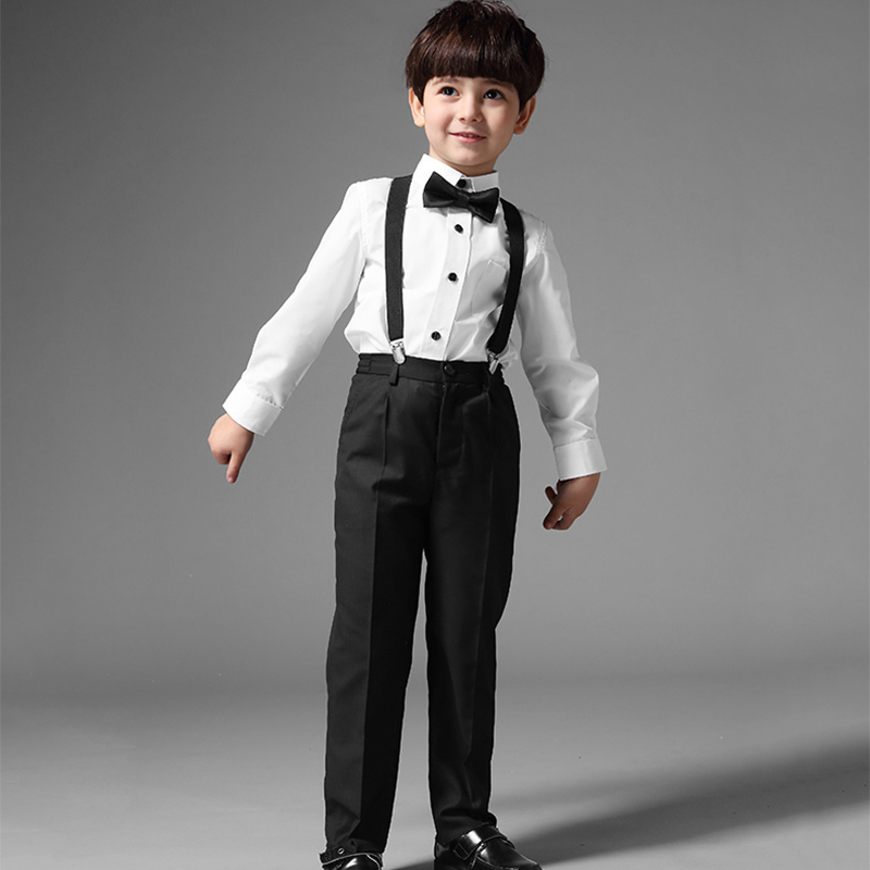 Boy Formal Suit Clothes for Wedding Prom Party Costume 3pcs Shirt Pants Braces Set British Style Kids Clothing