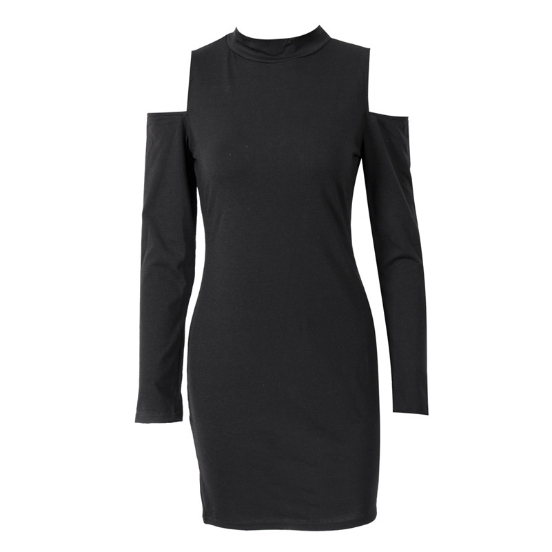 2017 Fashion Women's Solid <font><b>Dresses</b></font> <font><b>Sexy</b></font> Hollow Out Long Sleeve <font><b>Turtle</b></font> <font><b>Neck</b></font> Bodycon Strechy Party Vestidos Autumn Clothings image
