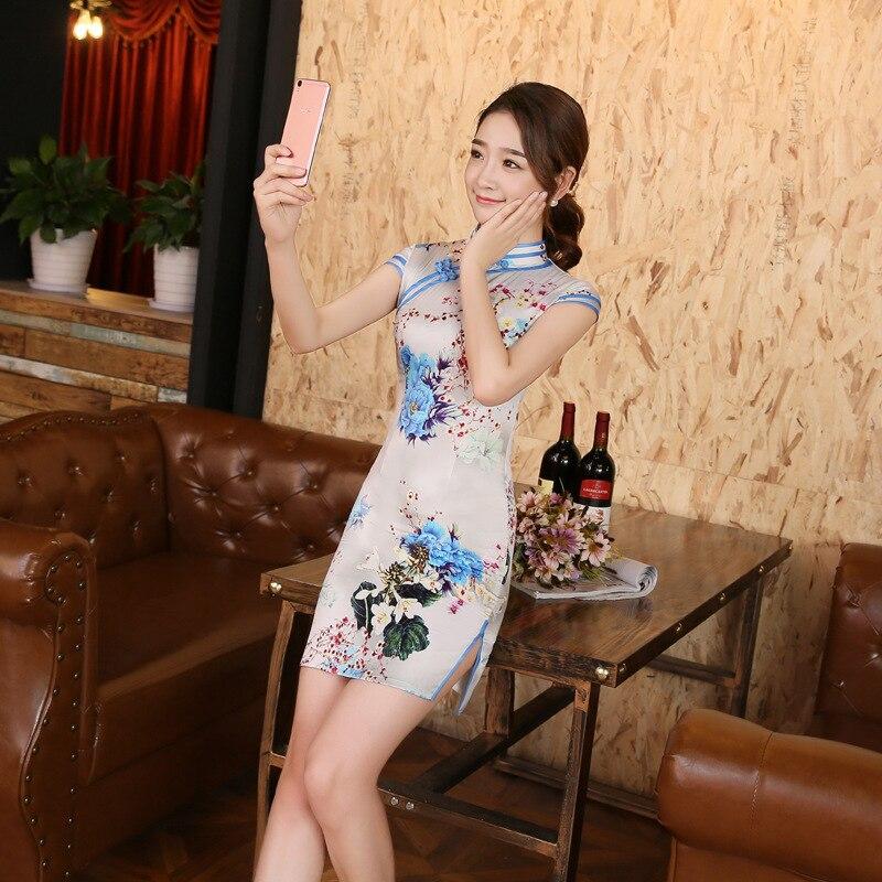 النساء سليم فستان سيدة زهرة طباعة أنيقة الصينية التقليدية شيونغسام خمر أزياء فستان تشيباو الصينية تانغ زي 9