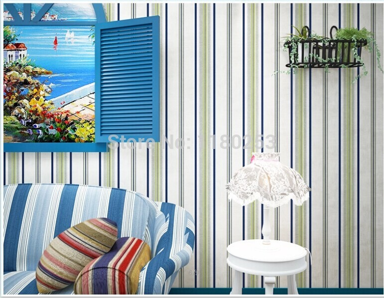 Hot selling stripe wallpaper roll kids room wall paper for for Selling wallpaper