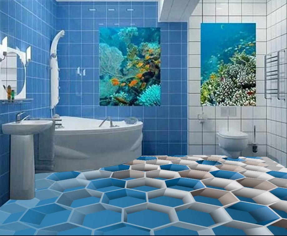 €17.47 61% de réduction|3D carrelage pour salles de bains personnalisé 3d  peinture au sol boîte bleue auto adhésif 3d pvc revêtement de sol  étanche-in ...