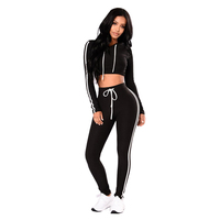 Wonder Beauty New Autumn Bodycon Jumpsuit Long Sleeve Hoodies Sweatshirt Two Piece Rompers Macacao Feminino Sexy