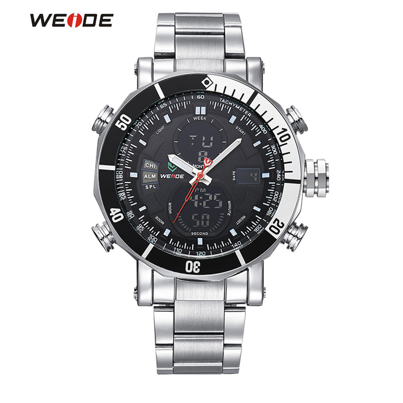 WEIDE Sport Watch Brand Dual Time Zone LCD Dial Alarm Stopwatch Steel Strap Relogio Quartz Digital Military Men Wristwatch brand new ohsen rectangle dial digital dual time lcd mens date alarm stopwatch analog quartz sport leather wrist watch ohs034