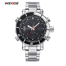 WEIDE Sport Watch Brand Dual Time Zone LCD Dial Alarm Stopwatch Steel Strap Relogio Quartz Digital Military Men Wristwatch
