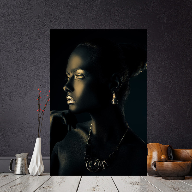 Black Gold African Nude Woman Indian Portrait Canvas Painting Posters and Print Scandinavian Wall Art Picture for Living Room(China)