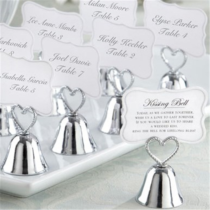 Aliexpress Buy Silver Heart Bell Place Card Holder Wedding Favors With Matching For Table Holders 45pcs Free Shipping From Reliable