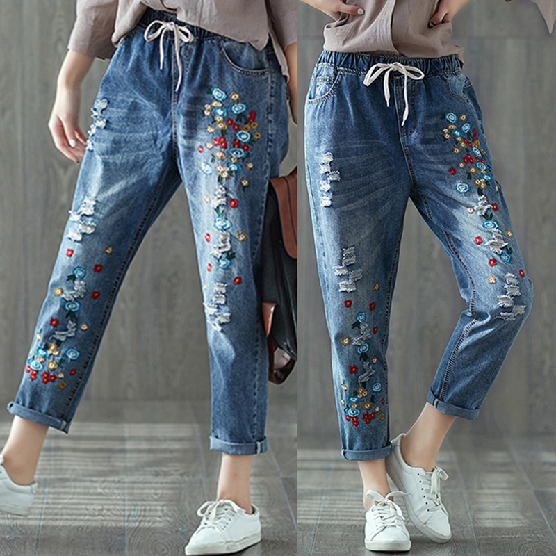 Women Spring Autumn New Embroidery Large Size Jeans Female Casual Elastic Waist Drawstring Denim Cropped Pants Female Wild Jeans