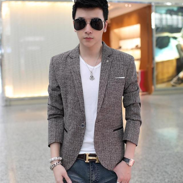 Aliexpress.com : Buy Men Casual Suit 2015 New Single Breasted Long ...