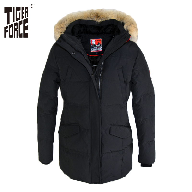 TIGER FORCE 2017 Women   Down     Coat   Parkas Winter Fashion 70% White Duck   Down     Coat   European Size Real Wolf Fur Collar Free Shipping