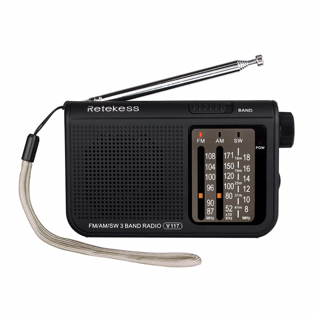 RETEKESS V117 Portable AM/FM Radio with Shortwave Battery Powered Transistor Headphone Jack Small Compact Size Emergency F9207A цена 2017