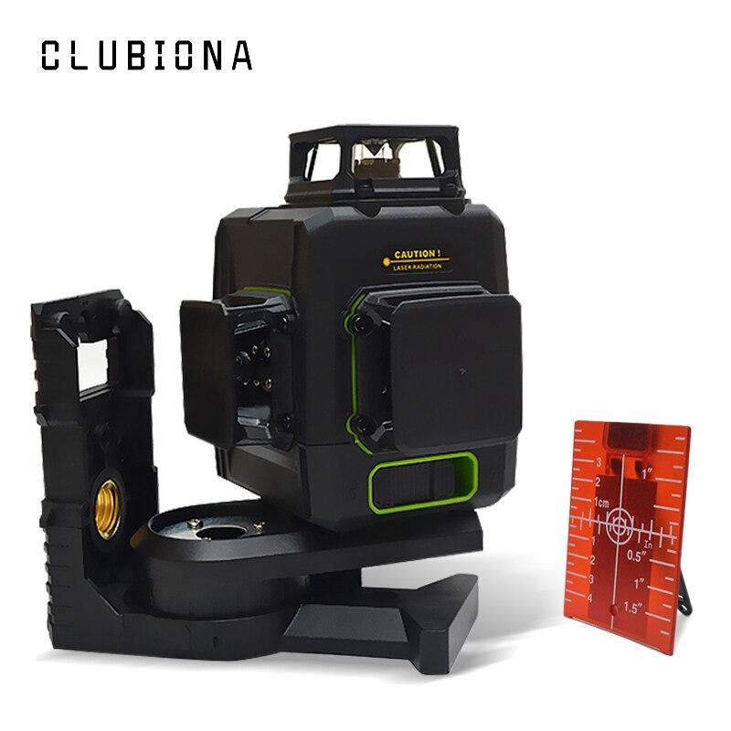 Clubiona CE certificated 3D Linhas de Nível Laser com 5200 mah BATTERY & Linhas Horizontais E Verticais Trabalhar Separadamente As Linhas de Laser