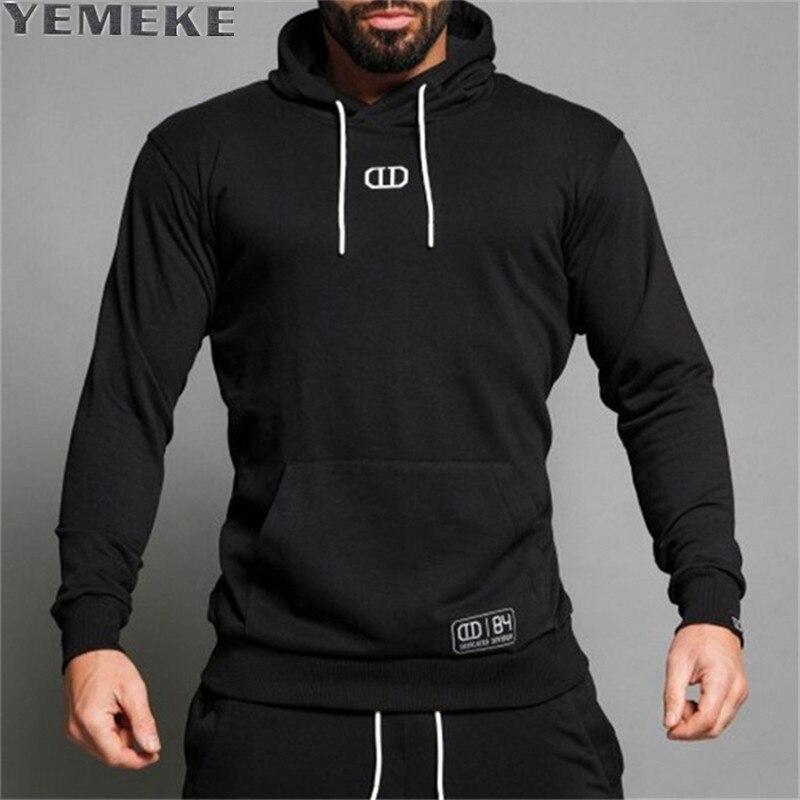 YEMEKE Brand 2017 Black Men Hoodies Solid Sling Male Sweatshirt Fashion Tracksuit Slim Black XXL